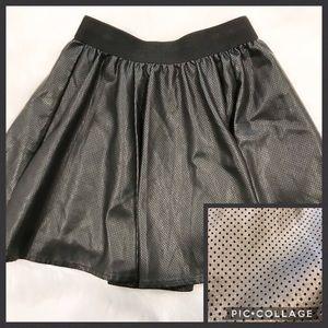 SILENCE + NOISE Faux Leather Flare Mini Skirt